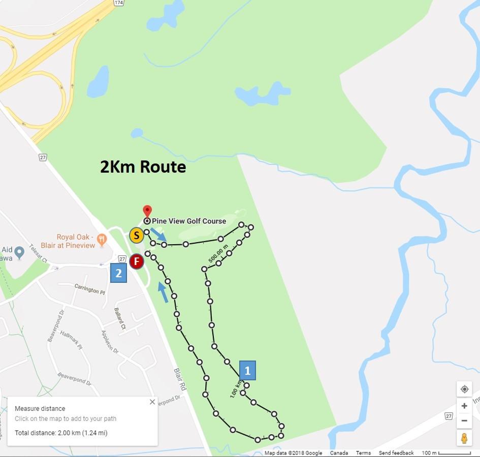 2 KM Route