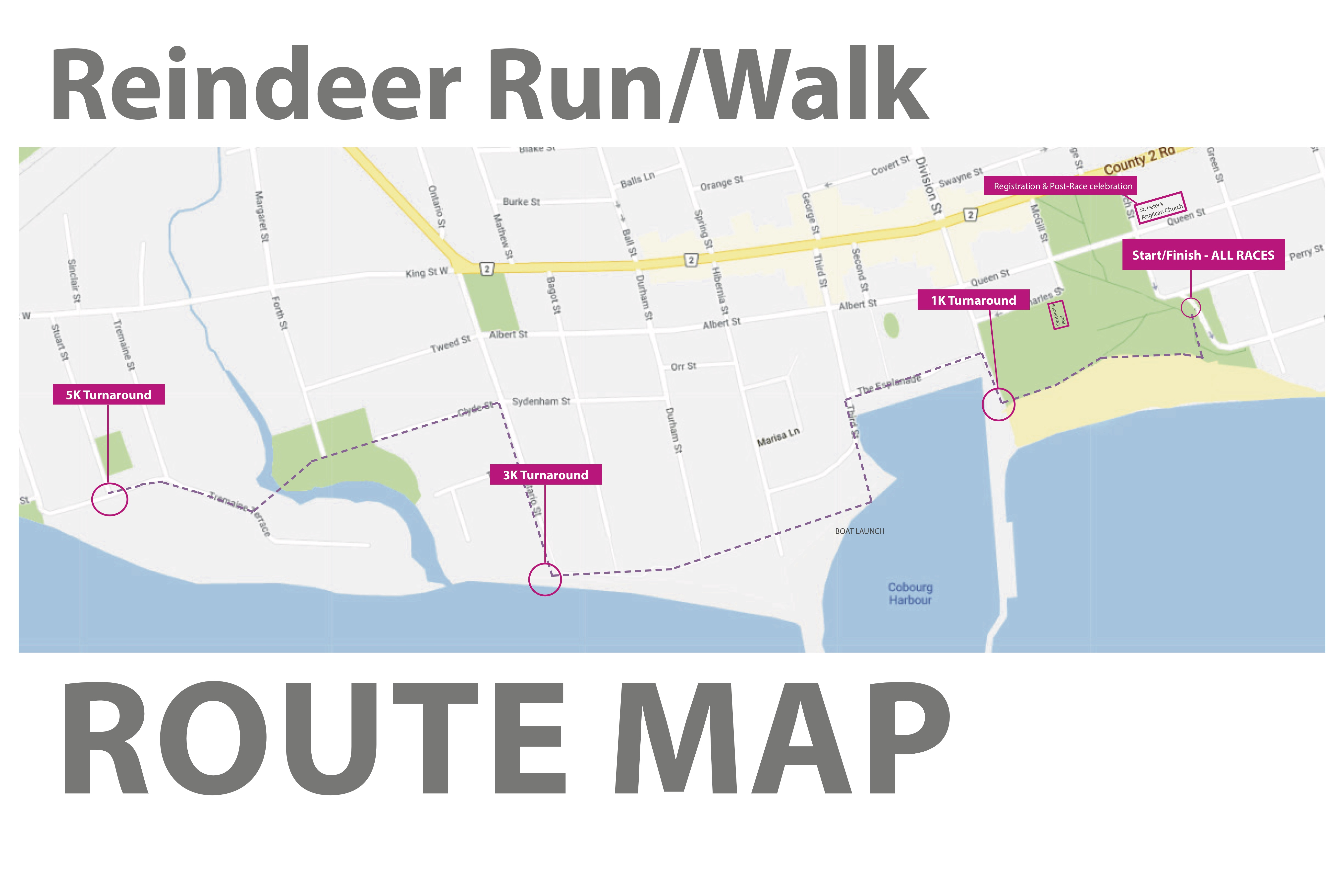 reindeer run Route Map 2019 without marshalls